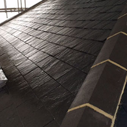 close up of slate roof tiles